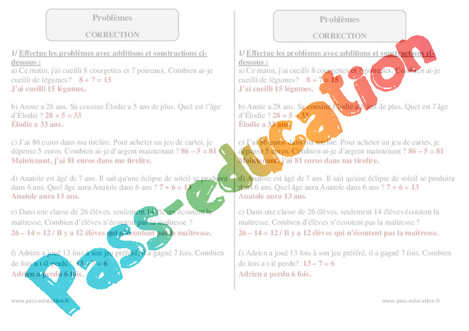 Problemes Ce1 Exercices Corriges Calcul Mathematiques Cycle 2