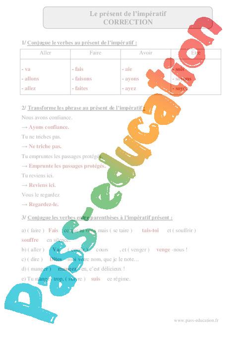 Present De L Imperatif Cm2 Exercices Corriges Conjugaison Francais Cycle 3