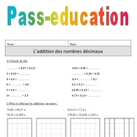 Addition Des Nombres Decimaux Cm1 Exercices Corriges Calcul Mathematiques Cycle 3