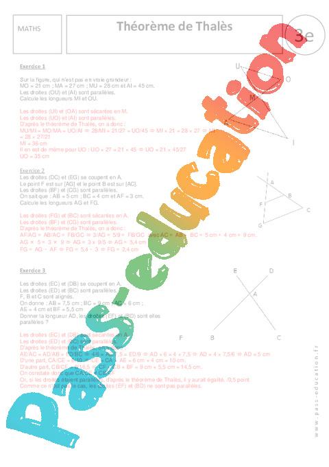 Théorème de Thalès - Exercices corrigés - 3ème - Géométrie ...