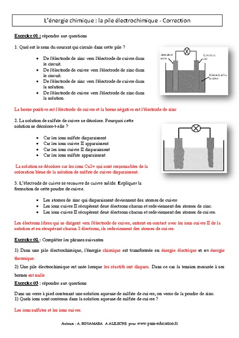 physique chimie 3eme exercices corriges