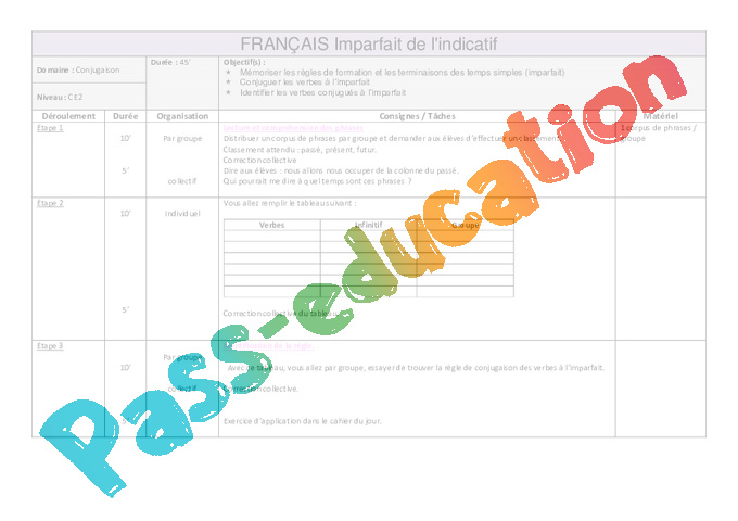 Imparfait Ce2 Fiche De Preparation Conjugaison Cycle 3