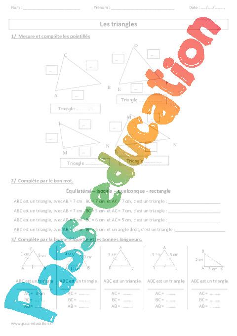 Nature des triangles - Ce2 - Cm1 - Cm2 - Exercices - Pass Education