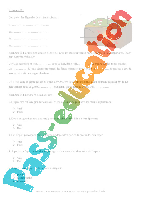 Séismes - 4ème - Exercices corrigés - Remédiation ...