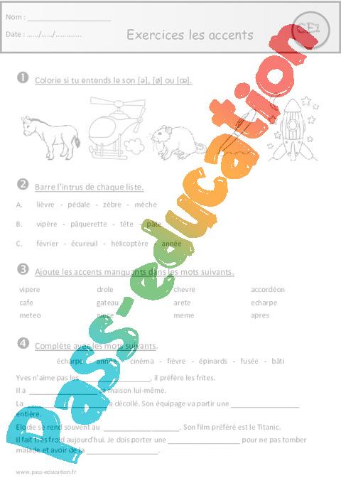 Exercices - Accents - Aigu - Grave - Circonflexe - Ce1 - Cycle 2 - Pass Education