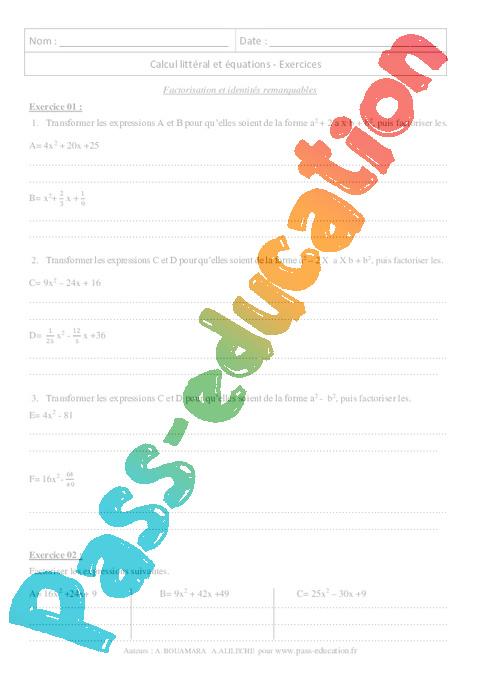 Factorisation Et Identites Remarquables 3eme Revisions Brevet Des Colleges