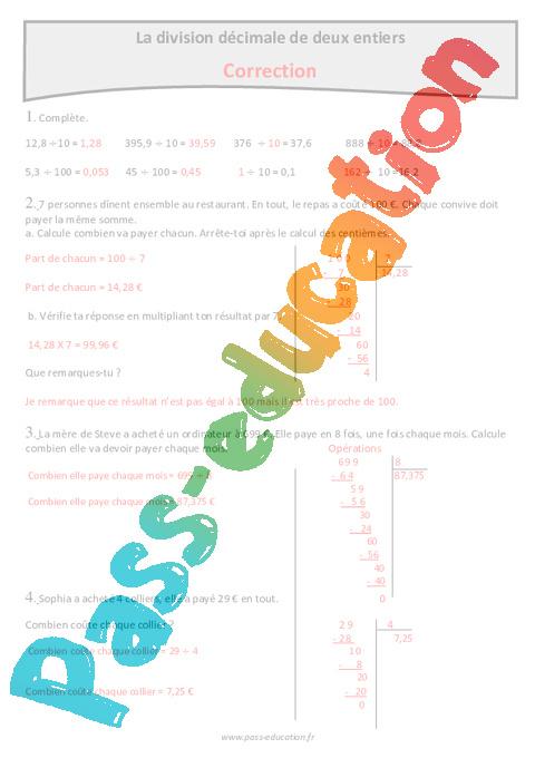 Division décimale de 2 entiers - Cm1 - Exercices avec ...