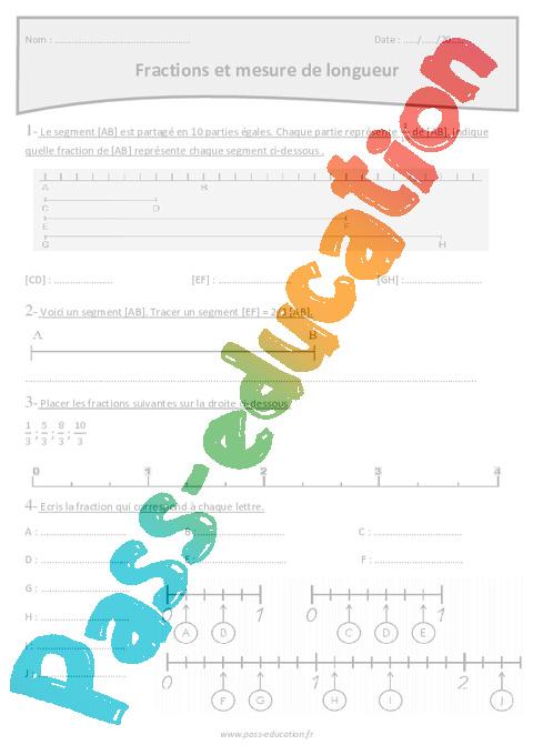 Fractions et mesure de longueur - Cm1- Exercices avec correction - Pass Education