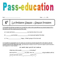 Verbes Au Present Simple 6eme Exercices A Imprimer
