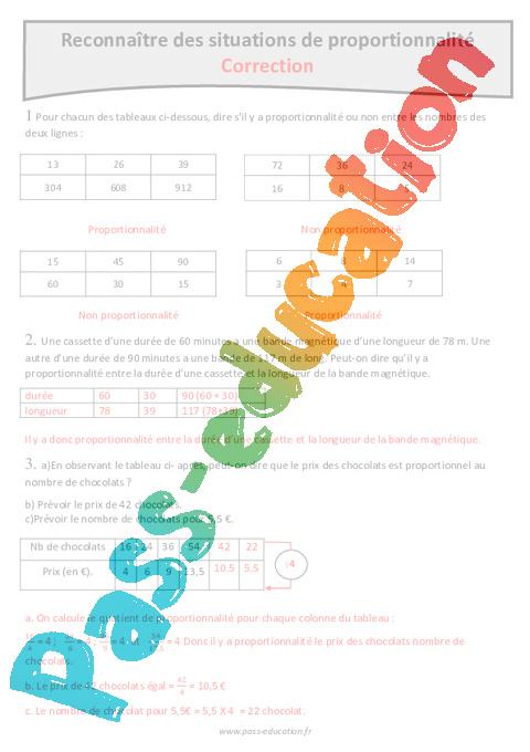 Situations de proportionnalité - Cm1 - Exercices avec correction - Pass Education