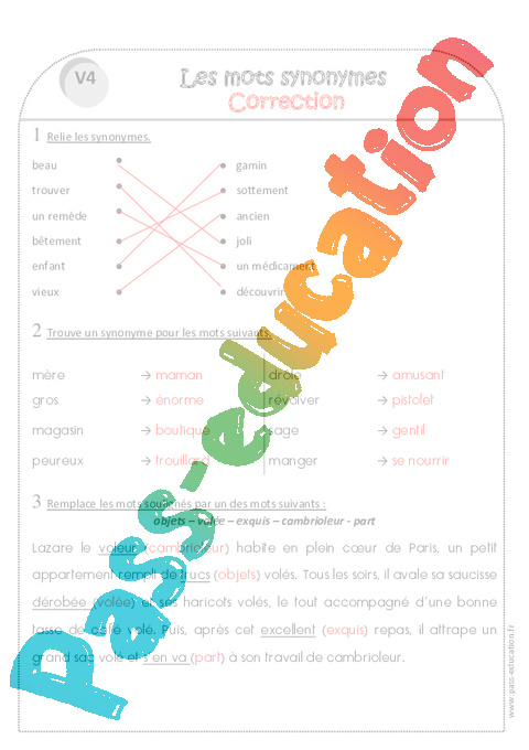 Synonymes - Ce1 - Exercices - Pass Education