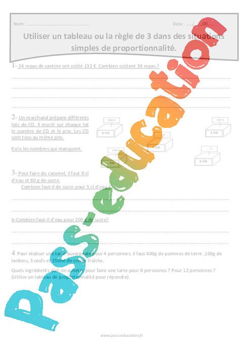 Proportionnalité - Règle de 3 ou tableau - Cm1 - Exercices ...