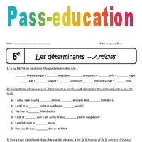 A - An - The - 6ème - Exercices - Déterminants et articles en anglais - Pass Education