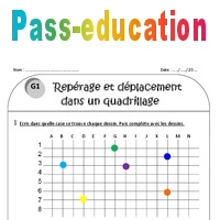 Quadrillage - Repérage et déplacement - Ce1 - Exercices à imprimer - Pass Education
