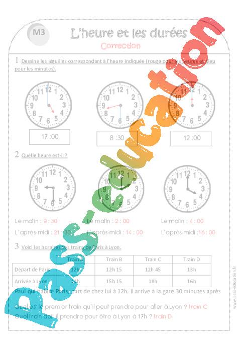 Temps et durée - Heure, minute, seconde - Ce1 - Exercices ...