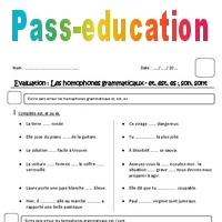 Et Est Es Son Sont Homophones Grammaticaux Cm1 Evaluation