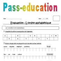 Ordre alphabétique - Ce1 - Evaluation - Pass Education