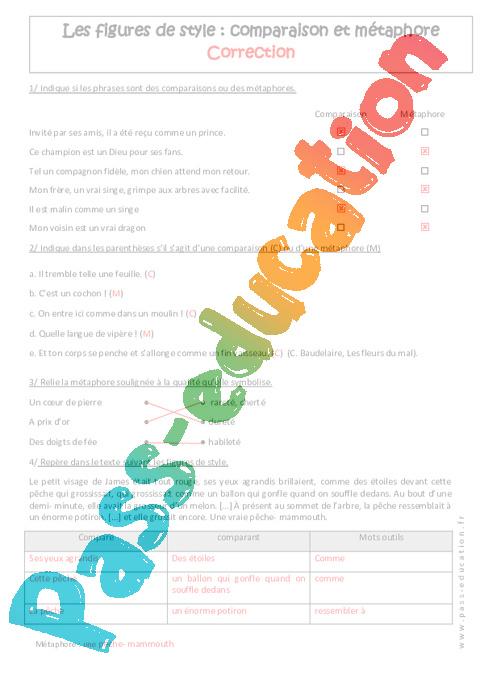 Comparaison et métaphore - 5ème - Exercices - Pass Education