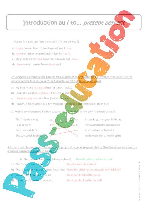 Present Perfect 5eme Revisions Anglais