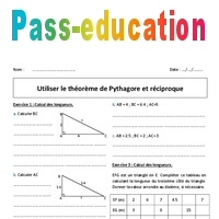 Utiliser le théorème de Pythagore et réciproque - 4ème - Exercices à imprimer - Pass Education