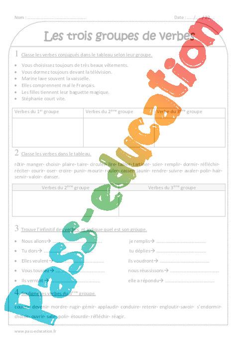 1er 2eme Et 3eme Groupe Ce2 Exercices A Imprimer Sur Les Groupes De Verbes