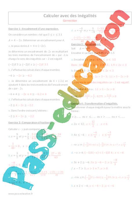 Calculer avec des inégalités - 4ème - Exercices corrigés ...