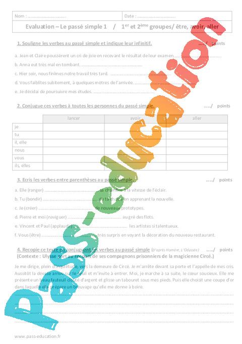 Passe Simple 6eme Evaluation 1er Et 2eme Groupes Etre Avoir Aller