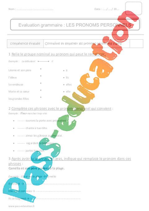 Pronoms personnels sujets - Ce1 - Bilan - Pass Education