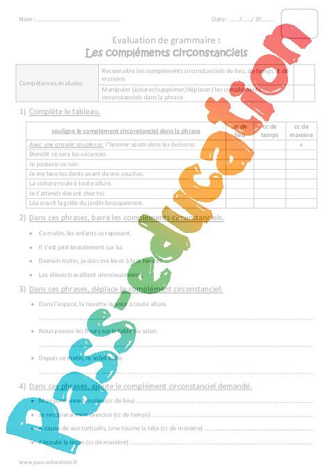 Compléments circonstanciels - Cm1 - Bilan à imprimer ...