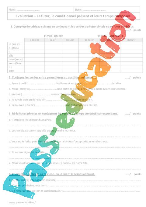 Futur Conditionnel Present 5eme Evaluation Sur Les Temps Composes