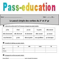 Passe Simple 2eme Et 3eme Groupe Cm1 Exercices