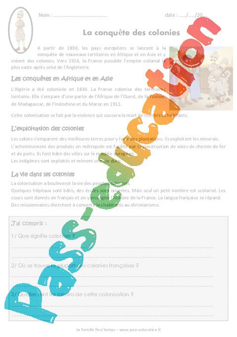 Conquête des colonies - Cm2 - Exercices - Pass Education
