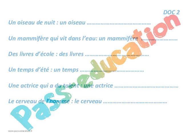 Adjectif Qualificatif Cm2 Fiche De Preparation Pass Education