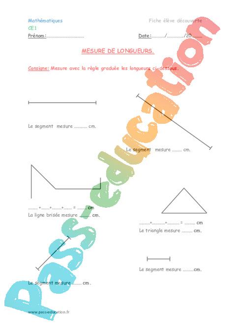 Segments - Ce1 - Fiche de préparation - Pass Education