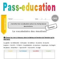 J Enrichis Mon Vocabulaire Autour Du Champ Lexical Des émotions Cm2 Exercices Avec Correction