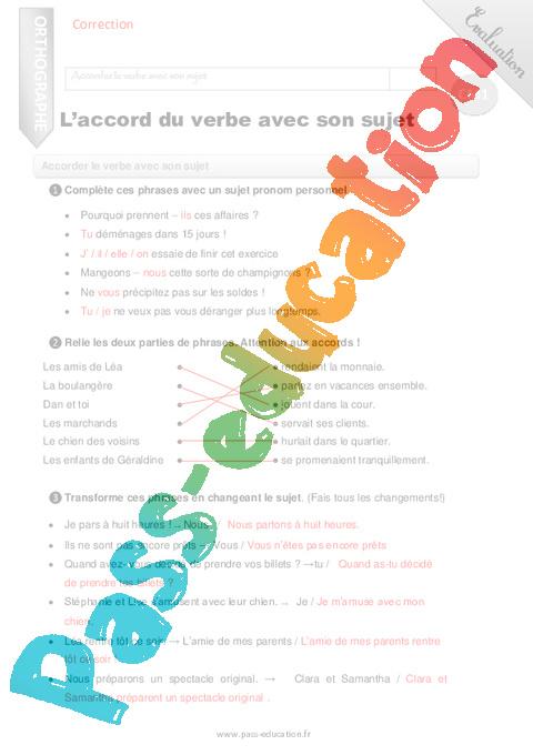 L'accord du verbe avec son sujet - CM1 - Evaluation - Bilan - Pass Education