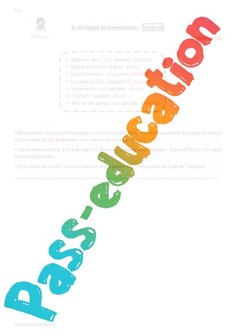 Je distingue les homophones : sont/son - Cm1 - Exercices avec correction - Pass Education