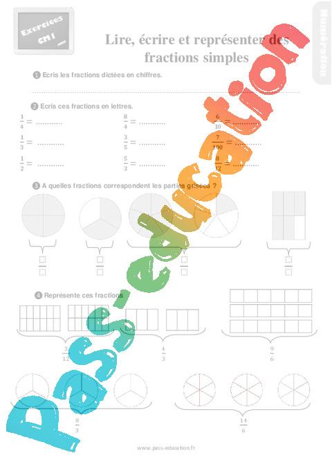 Exercices, révisions sur lire, écrire et représenter des fractions simples au Cm1 avec les ...