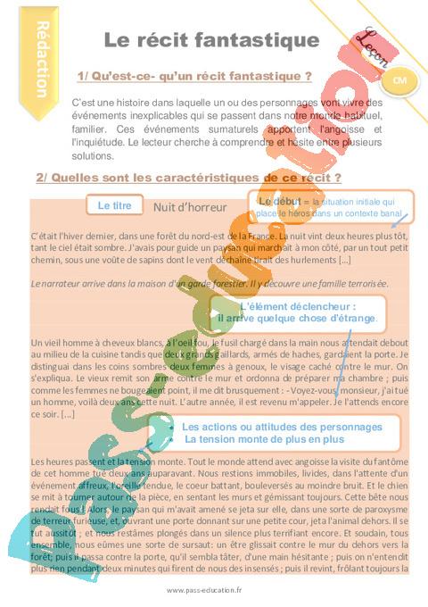 Le Recit Fantastique Cm1 Cm2 Redaction Production D Ecrit Fiche De Preparation Pass Education