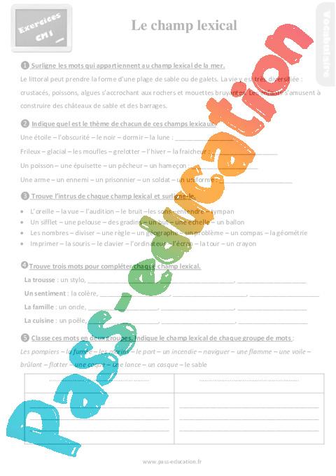 Exercices Revisions Sur Le Champ Lexical Au Cm1 Avec Les Corrections Pass Education