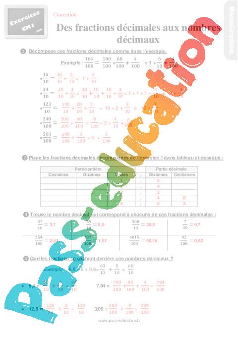 Exercices, révisions sur placer des fractions décimales ...