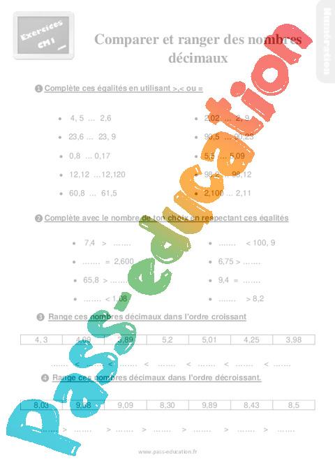 Exercices, révisions sur comparer et ranger des nombres décimaux - Cm1 avec les corrigés - Pass ...