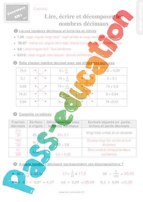 Exercices, révisions sur lire, écrire et décomposer des nombres décimaux - Cm1 avec les corrigés ...