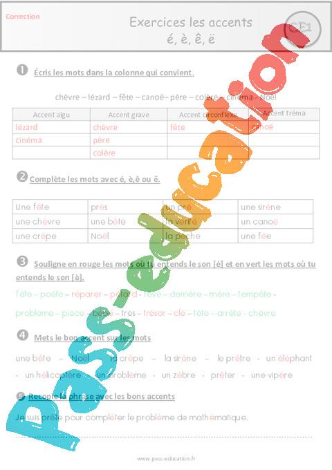Les accents é, è, ê, ë - Ce1 - Exercices avec les corrections - Pass Education