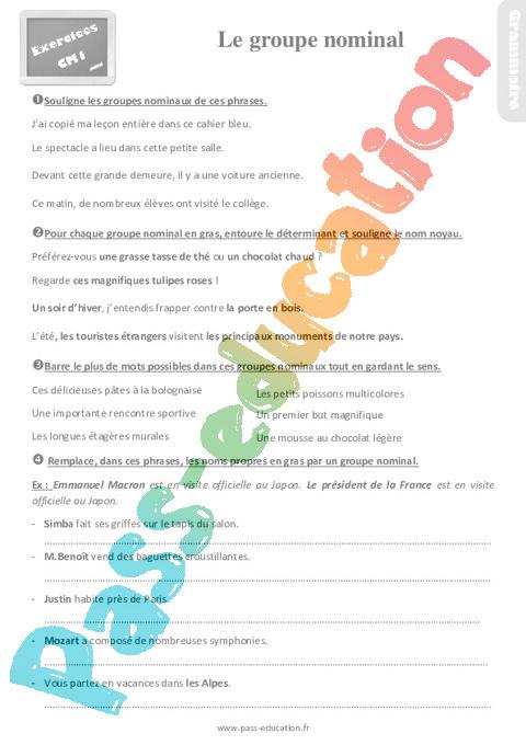 Exercices, révisions sur le groupe nominal au Cm1 avec les corrections - Pass Education