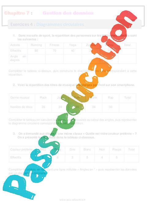 Diagrammes Circulaires - 6 U00e8me - R U00e9visions - Exercices Avec Correction