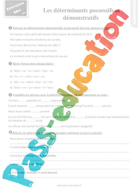 Exercices, révisions sur les déterminants possessifs et démonstratifs - Cm1 avec la correction ...