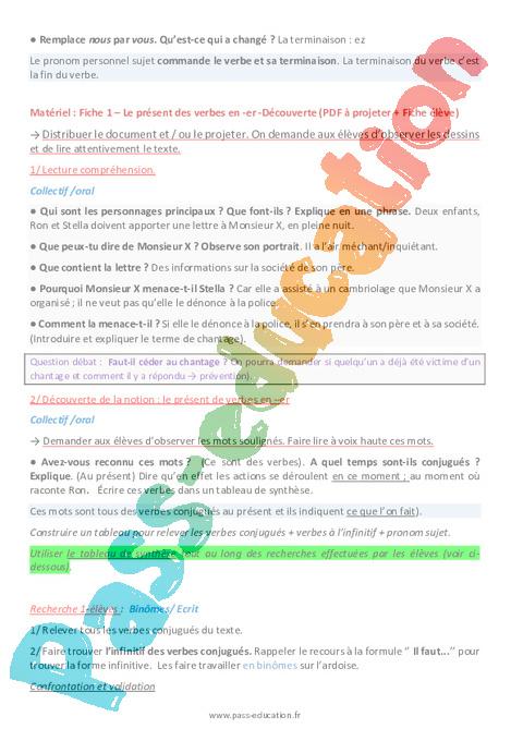 Present Des Verbes En Er Ce2 Etude De La Langue Fiche De Preparation