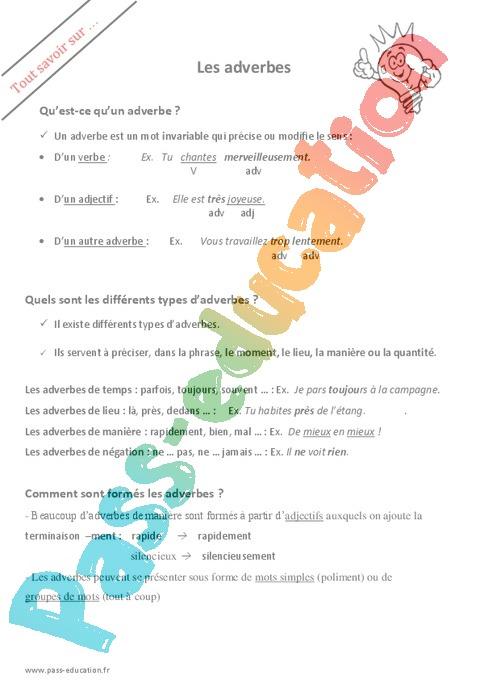 Adverbes : CM1 - Cycle 3 - Exercice évaluation révision leçon