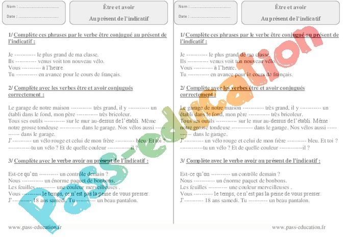 Avoir Etre Auxiliaires Ce2 Cycle 2 Exercice Evaluation Revision Lecon